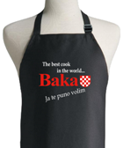 Apron - Baka Black -The Best Cook In The World Baka Ja Te Puno Volim