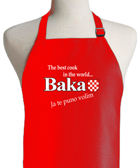 Apron - Baka Red -The Best Cook In The World Baka Ja Te Puno Volim